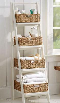 ladder floor storage with baskets