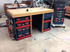 I know most guys on here are looking for a portable option bit it's often nice to have a substantial bench in the shop. Mine is all custom with MFT style top, lots of T track, rockler castors,