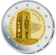 Moeda Comemorativa 2€ - Andorra 2018 - 25º aniversário da Constituição de Andorra Andorra, Euro Währung, Piece Euro, Numismatic Coins, Euro Coins, Valuable Coins, Commemorative Coins, World Coins, Coin Collecting