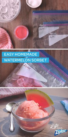 Shake up this homemade sorbet right in a Ziploc® bag. Just place a bag of watermelon purée inside of a bag filled with ice and rock salt and shake for 5 minutes. Such an easy (and fun!) snack to make with the kids. Can be made with any fruit purée. A lighter dessert than ice cream or frozen yogurt.