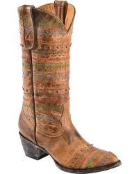 Old Gringo Yippee Ki Yay Line Stitched & Studded Cowgirl Boots - Sheplers
