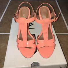 Aldo Laedia Orange High Heel Sandals Brand new. Worn once. Size 6 in woman's. Spring fashion. Patent leather orange. ALDO Shoes Sandals