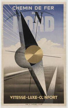 "Chemin De Fer Du Nord - Vitesse-Luxe-Confort, 1929 Técnica: Silkscreen (Tela de seda) Dimensão: 39 x 24 1/2"" (99.1 x 62.2 cm) Número MoMA: 272.1935"