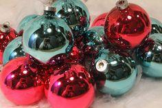Set of 15 or 16 Christmas Ball Ornaments, Mercury Glass, Blue Vintage Ornaments, Pink Vintage Ornament