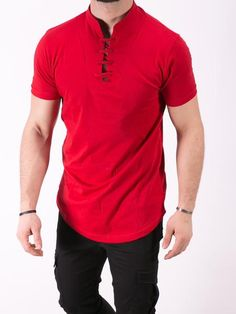 K&B Men Lace Mock Neck T-shirt - Red