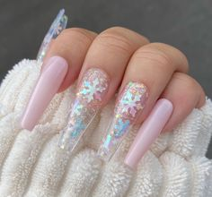 Cute Acrylic Nail Designs, Best Acrylic Nails, Nail Art Designs, Winter Acrylic Nails, Light Pink Acrylic Nails, Coffin Nails Glitter, Pretty Nail Designs, Nails Design, Dope Nails
