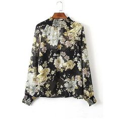 Yoins Yoins High Neck Floral Printing Back Cut Out Blouse ($14) ❤ liked on Polyvore featuring tops, blouses, black, shirts & tops, cuff shirts, button blouse, ruffle neck blouse, button shirt and floral blouse