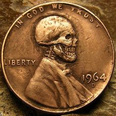 BEN WELLS HOBO PENNY - SKULL - 1964 LINCOLN CENT Old Coins Value, Coin Worth, Coin Values, Wedding Band Sets, Wells, Lincoln, Frugal, Graffiti, Stamps
