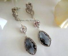 Grey Crystal Earrings Grey Wedding Bridal by DebraAnnCreations