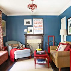 Color scheme - put color on the floor and neutral on the walls Color for Small Spaces Problem: You love dark colors but have small spaces. Solution: Implement dark colors alongside brights. In this living room, peacock blue is enlivened by vivid red accents and crisp white. Using the accent color in smaller, but more frequent, doses lets blue be the star but balances dark with bright.