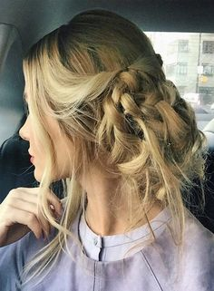 Messy Bun Finish with Twisted Brown Braid Hairstyles 2017 - 2018