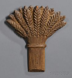 Gilt Sheaf of Wheat Carving, America, 19th century, relief-carved in the half round,10.5 H. x 9 W.