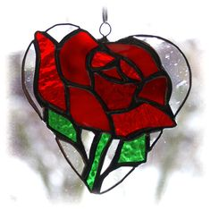 stained glass rose | Rose Heart Suncatcher Stained Glass Red for Val... - Folksy | Craft ...