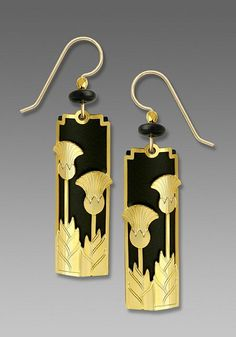 Black with Gold Art Deco 'Upright Flowers' Overlay Earrings - product image