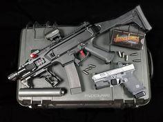 CZ Scorpion EVO SBR in 9mm with a custom G19 running Jesse James ammo. -
