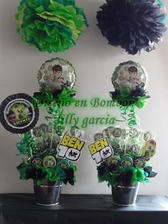 Ben 10 balde  decorado cotiza a diseno_en_bombon@hotmail.cl Ben 10 Birthday, Dragon Birthday Parties, Ben 10 Party, Candy Bar Party, How To Train Your Dragon, Party Themes, Diy And Crafts, Candle, Birthdays