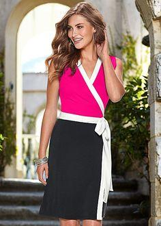 Reinvent the wrap dress with fresh color block!  Venus color block wrap dress.