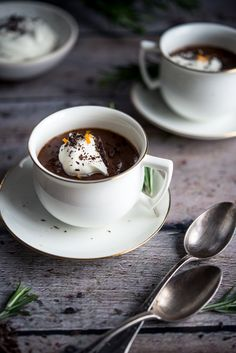 Chocolate Orange Pot de Crème with Rosemary Chantilly