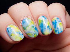 Blue + Yellow + Green Nails. Sharpie watercolored gel nail art by @chalkboardnails #nail #nailart