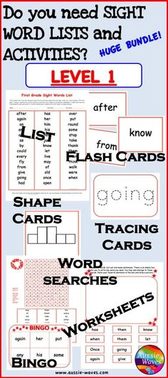 SIGHT WORDS BUNDLE GRADE 3 Printable Activities for Centers and Word