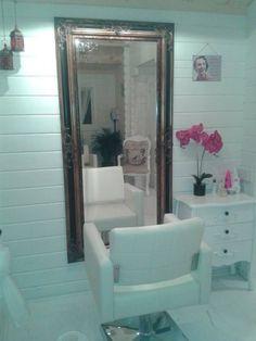 pinterest home decor ideas shabby chic hair salons | Hair salon/ Log cabin shabby chic.