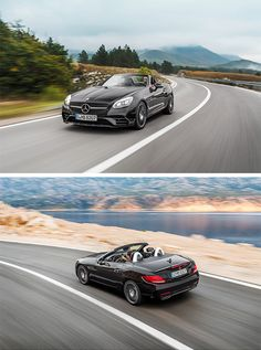 As part of the facelift, the Mercedes-Benz designers have further honed the roadster's sporty look. The new front section, where the steeply raked radiator grille elongates the appearance of the arrow-shaped bonnet, is particularly striking. All SLC models feature a diamond radiator grille as standard. [Mercedes-Benz SLC 300 | Combined fuel consumption 6.2–5.8 l/100km | combined CO2 emission 144–134 g/km | http://mb4.me/efficiency_statement]