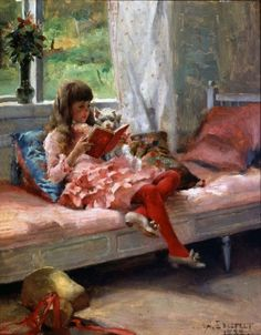 Albert Edelfelt Good Friends (Portrait of the Artist's Sister Bertha Edelfelt), oil on panel, Hermitage Museum Reading Art, Woman Reading, Children Reading, Reading Books, Quiet Books, Hermitage Museum, Beautiful Paintings, Oeuvre D'art, Love Art