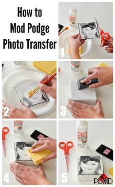 Transfer photo image into a block with Mod Podge! Easy and qui… DIY Photo Blocks. Transfer photo image into a block with Mod Podge! Easy and quick to do in several minutes! Diy Mod Podge, Mod Podge Crafts, Mod Podge Ideas, Resin Crafts, How To Mod Podge, Modge Podge Ideas On Glass, Mod Podge Glass, Modge Podge Projects, Glue Gun Crafts