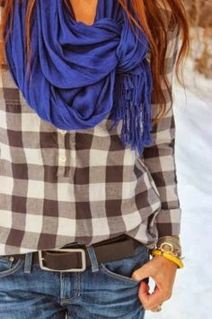 I like how this scarf is tied. Cotton Check Shirt With Blue Scarf Look Fashion, Street Fashion, Womens Fashion, Fall Fashion, Fashion Ideas, Fashion Moda, 1950s Fashion, Vintage Fashion, Fashion Trends