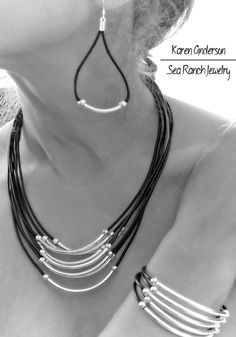 "The ""Simply Curves"" Made To Order Leather & Silver Beaded Jewelry Set.  Earrings, Bracelet, Necklace. Mint Green, Black, Brown, or Red"