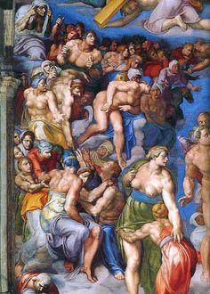 Michelangelo Buonarroti - The Last Judgment (detail ), Fresco 1370 x Sistine Chapel, Vatican Michelangelo, La Pieta, Web Gallery Of Art, Italian Sculptors, Galerie D'art En Ligne, High Renaissance, Art Sculpture, Sistine Chapel, Renaissance Paintings