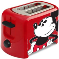 Disney Mickey Mouse 2 Slice Toaster, Red/Black - Add a pop of color to your kitchen! This colorful two slice Mickey Mouse toaster leaves a Mickey icon imprint on your toast as it browns. It has self-centering bread guides and adjustable browning controls. Mickey Mouse Characters, Mickey Mouse And Friends, Mickey Minnie Mouse, Mickey Mouse House, Cozinha Do Mickey Mouse, Mickey Mouse Kitchen, Casa Disney, Disney Rooms, Bebidas Do Starbucks