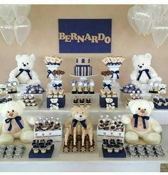 Urso - Love the Teddies on display Birthday Cake Kids Boys, 1st Birthday Boy Themes, Cake Birthday, Baby Party, Baby Shower Parties, Baby Shower Themes, Teddy Bear Party, Teddy Bear Baby Shower, Polo Baby Shower
