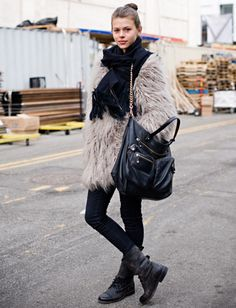 Great way to update an older fur coat--with accessories! Love this scheme.