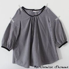 OFF sale- Gingham Tunic blouse Maria - Repurposed man's shirt - XS/S - Diy Clothing, Sewing Clothes, Clothing Patterns, Blouses For Women, Women's Blouses, Shirt Refashion, How To Make Clothes, Tunic Blouse, Dressmaking
