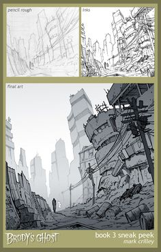 Brody's Ghost 3 Sneak Peek by markcrilley on DeviantArt Perspective Drawing Lessons, Perspective Art, Art Sketches, Art Drawings, Cityscape Drawing, Comic Tutorial, Graphic Novel Art, Background Drawing, Digital Art Tutorial