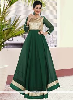 This green art silk and georgette readymade gown  is adding the desirable glamorous showing the sense of cute and graceful. Beautified with lace work all synchronized very well with all the trend and ...