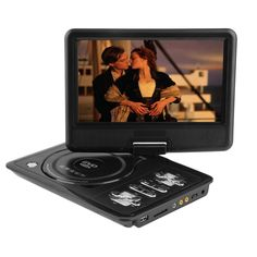 2017 Newest portable 7 Inch DVD player with rotatable screen, game and TV function, use at home, car, support CD player, MP3/MP4