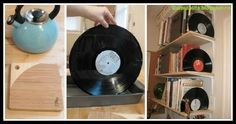 If you love DIY, take a look at this awesome Vinyl Record Bookends tutorial. Grab the tools old records, cake pan, boiling water) and start a cool project! Old Records, Vinyl Records, Lets Play, Diy Tutorial, Bookends Diy, Diy Ideas, Craft Ideas, Cool Stuff, Projects