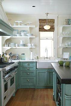 Farmhouse Sink Kitchen, Kitchen Sink, Kitchen Cabinets, Kitchen Designs, Kitchen Ideas, Rustic Country Kitchens, Open Shelving, Unique, Home Decor