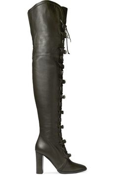 Jimmy Choo - Maloy Leather Over-the-knee Boots - Army green - IT