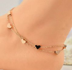 Heart anklet bracelet solid 925 sterling silver jewelry gift women yellow plated Solid sterling silver 925 ankle bracelet leg anklet Heart Love Valentine's Day - My Accessories World Ankle Jewelry, Cute Jewelry, Body Jewelry, Jewelry Gifts, Jewelry Accessories, Jewelry Necklaces, Gold Bracelets, Heart Jewelry, Gold Jewellery