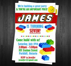 BLOCKS  Birthday Invitation Custom Digital File DIY LEGO Birthday Invite