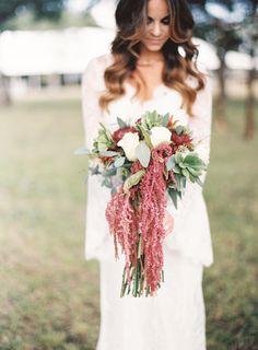 Boho fall amaranth + rose bouquet: http://www.stylemepretty.com/texas-weddings/knickerbocker/2016/03/10/west-texas-ranch-wedding-full-of-rustic-elegance/ | Photography: NBarrett - http://nbarrettphotography.com/