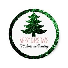 Christmas tree green sparkles Gift Tag Sticker by #PLdesign #ChristmasSparkles #SparklesGift #ChristmasGift