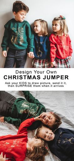 Design your own Christmas Jumper. Send us your kids drawn design, and we'll surprise them with their own Christmas Jumper. If the thought of wearing a Christmas Jumper puts the chills up you, then take a peek at the options below – Christmas jumpers can actually be stylish. Just as there are dozens of Christmas decorations that have progressed to stylish over the last 30 years, Christmas Jumpers have done the same. #christmas #christmasjumper #christmasideas #xmas