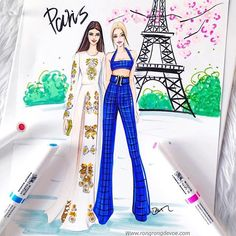 Hello #parisfashionweek! #pfw, Gigi and Kendall fashion sketch by fashion illustrator Rongrong DeVoe