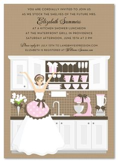 185 best kitchen theme bridal shower images on pinterest wedding kitchen bridal shower invitations stock the shelves invitation filmwisefo