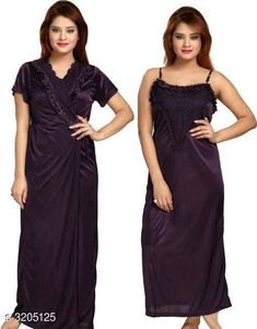 Checkout this latest Nightdress Product Name: *Comfy Satin Women's Night Dress* Fabric: Satin Sleeves: Robe - Short Sleeves Are Included Nighty - Sleeves Are Not Included Size: Up to 38 in (Free size) Length: Robe - Up to 54 in Nighty - Up To 48 in Type: Stitched Description: It Has 1 Piece Of Robe & 1 Piece Of Nighty Work: Lace Work Country of Origin: India Easy Returns Available In Case Of Any Issue   Catalog Rating: ★3.9 (2306)  Catalog Name: Trendy Comfy Satin Women's Night Dress Combo Vol 8 CatalogID_441187 C76-SC1044 Code: 503-3205125-177
