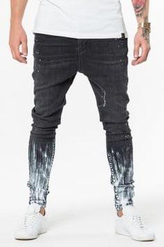 Drop Crotch Paint Stroke Jeans - Black/Light Grey Paint - £59.99